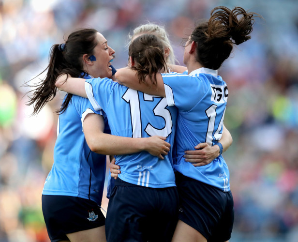 Nimah McEvoy, Sinead Ahern, Nicole Owens and Sinead Goldrick celebrate at the final whistle