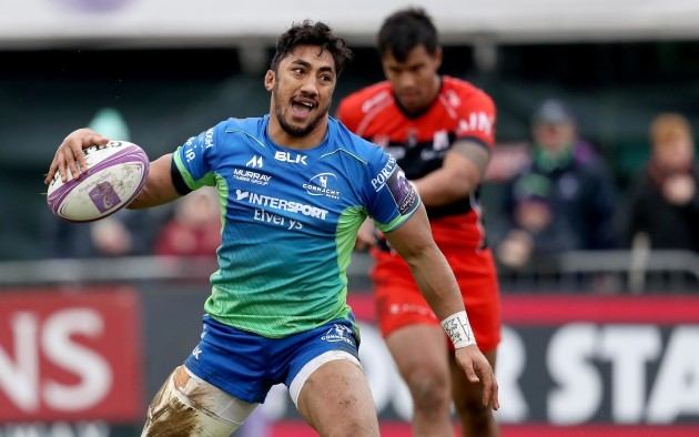 Bundee Aki celebrates scoring a try