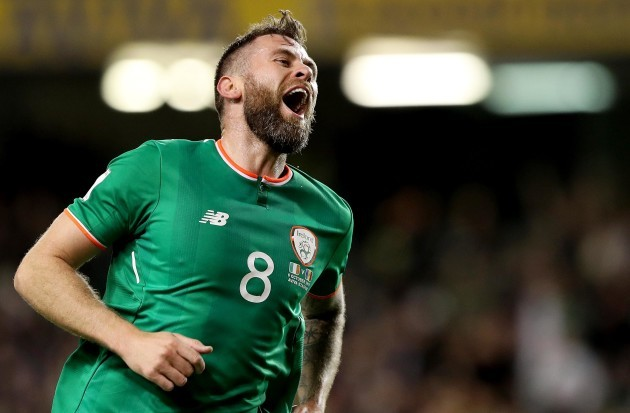 Daryl Murphy celebrates scoring a second goal