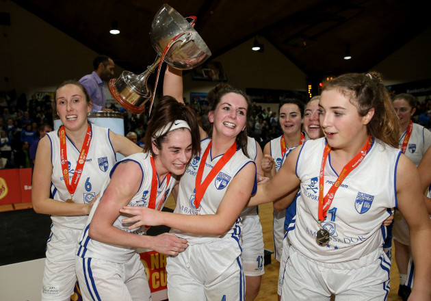 Grainne Dwyer and Aine McKenna celebrate after the game