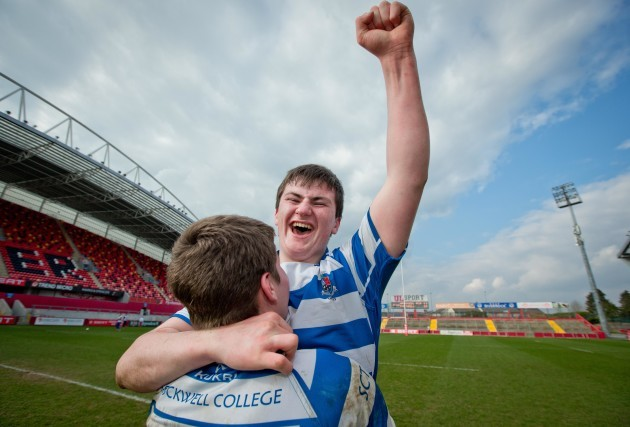 Mikey Wilson and Diarmuid Barron celebrate after the game