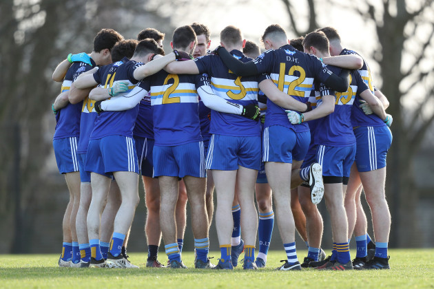 DIT huddle before the game