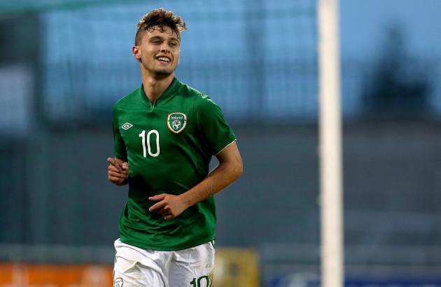 Eoghan Stokes celebrates scoring
