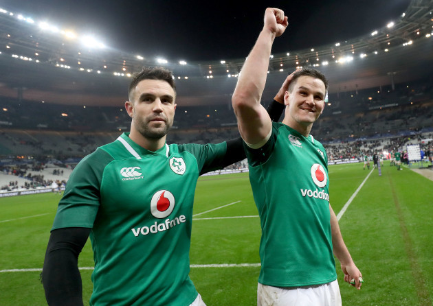 Johnny Sexton and Conor Murray celebrate after the game