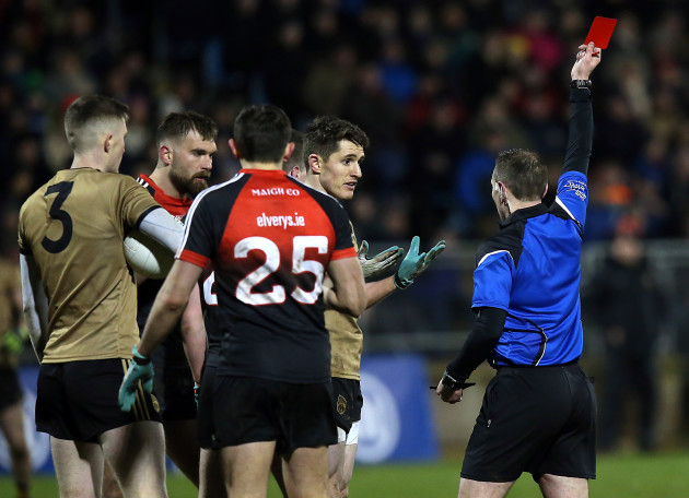 Ronan Shanahan receives a red card
