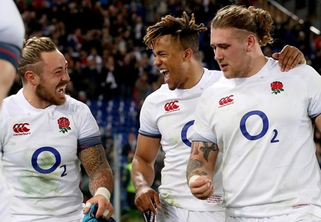 Jack Nowell, Anthony Watson and Harry Williams celebrate after the game
