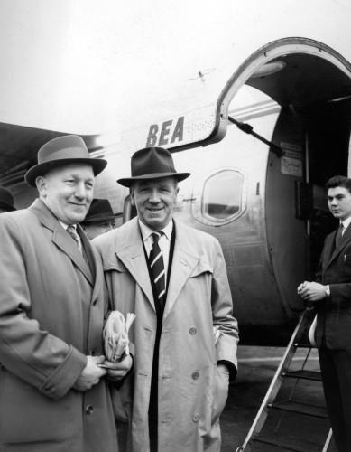 Soccer - Bert Whalley and Matt Busby - Ringway Airport, Manchester