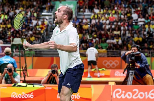 Scott Evans celebrates