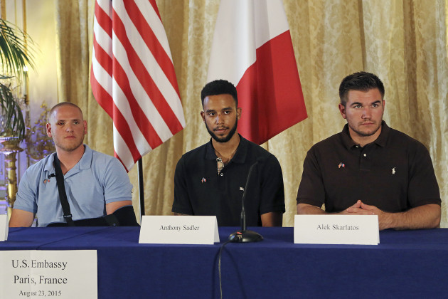 Anthony Sadler, Alek Skarlatos and Spencer Stone Give A Press Conference At US Ambassador's Residence In Paris