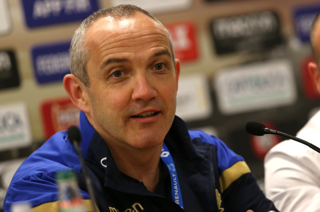 Conor O'Shea during the post match press conference