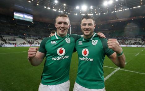 Dan Leavy and Robbie Henshaw celebrate winning