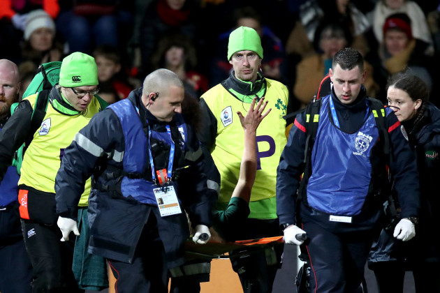 Ciara Cooney is stretchered off with an injury