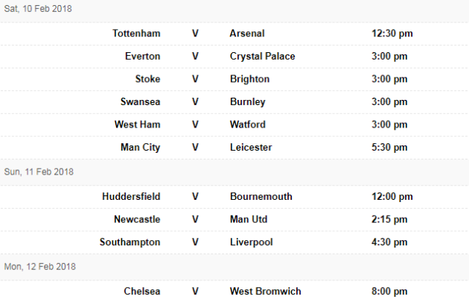 PL fixtures 9 Feb
