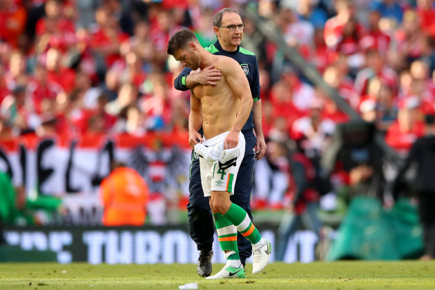 Martin O'Neill and Wes Hoolahan at the final whistle