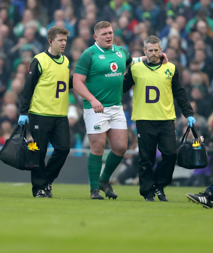 Tadhg Furlong leaves the field with an injury