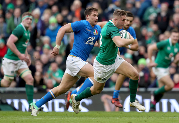 Jordan Larmour makes a break