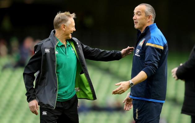 Joe Schmidt with Conor O'Shea