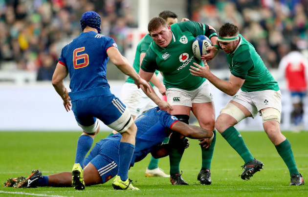 Jefferson Poirot tackles Tadhg Furlong and Peter O'Mahony