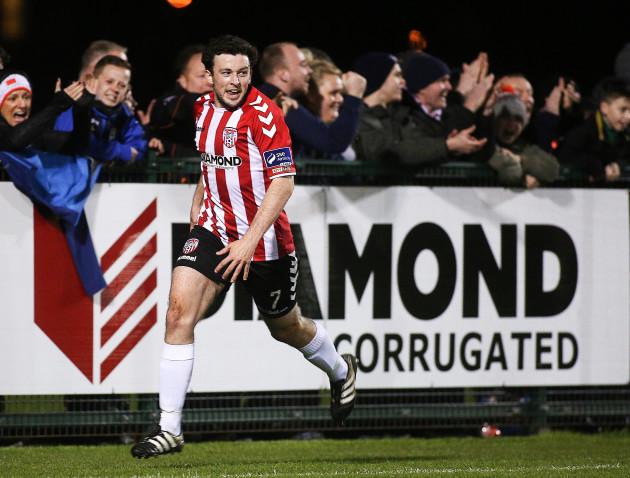 Barry McNamee celebrates his goal