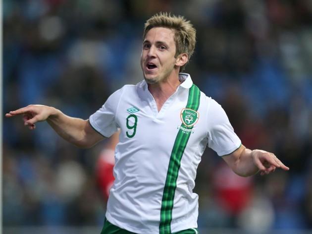 Kevin Doyle celebrates scoring the winning goal