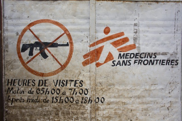 no arms sign on gate of MSF spain hospital in batangafo in central african...