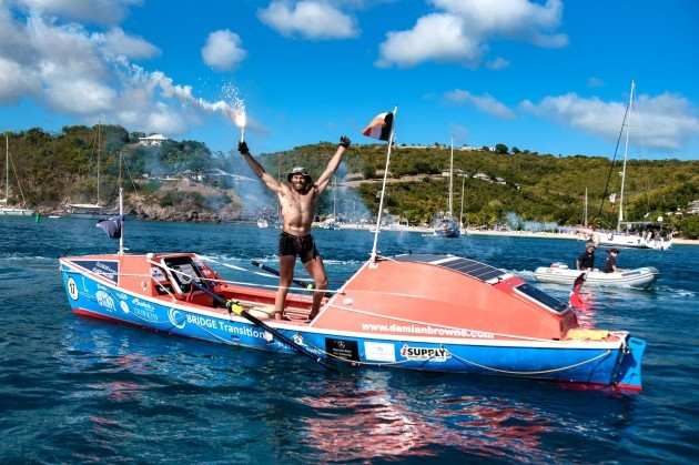 Solo Irish rower Damian Browne at the finish line of the Talisker Whisky Atlantic Challenge CREDIT TED MARTIN 2_preview