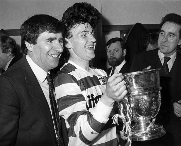 Jim McLaughlin celebrates with Paul Doolan