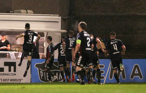 Bohemians players celebrate their second goal