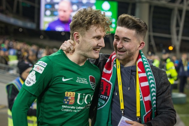 Kieran Sadlier celebrates with Sean Maguire after the game