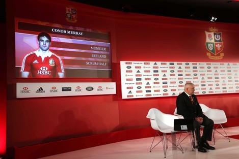 Conor Murray is selected as head coach Warren Gatland looks on