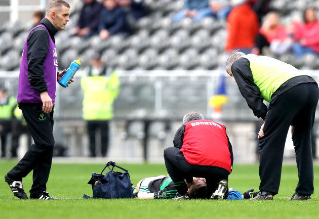 Cian McWhinny receives medical attention