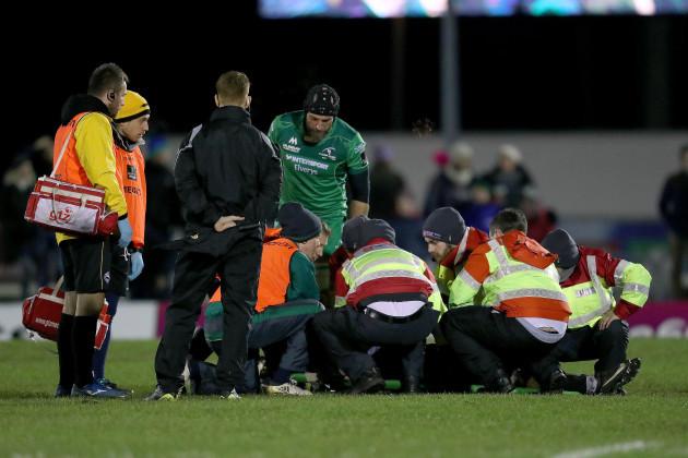 Ciaran Gaffney receives medical attention