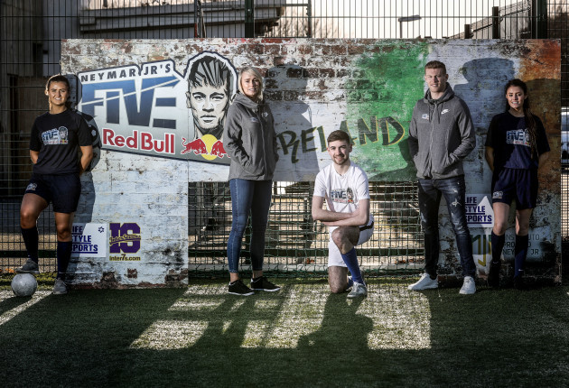 Roche and James McClean with participants of Neymar Jr's Five yesterday.