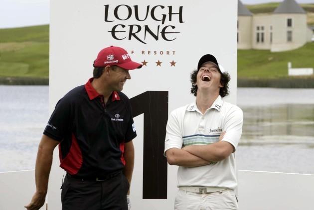 Padraig Harrington and Rory McIlroy share a joke