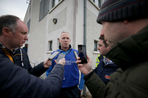 Shane O'Neill talks to the media after the match