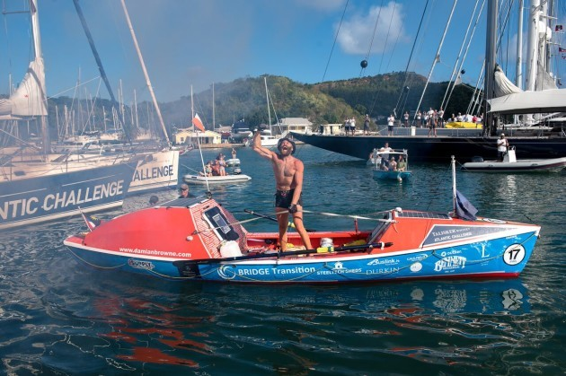 Solo Irish rower Damian Browne at the finish line of the Talisker Whisky Atlantic Challenge CREDIT TED MARTIN 3_preview