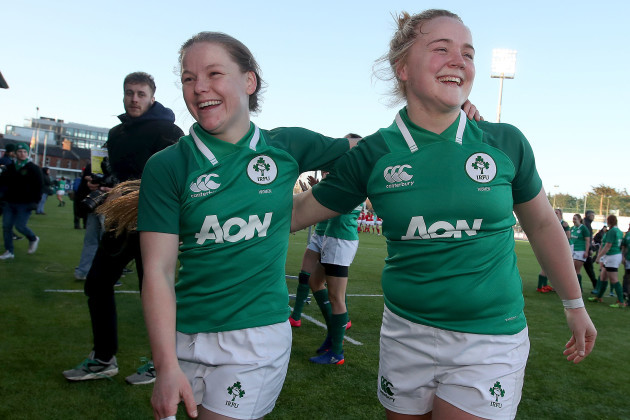 Nicole Cronin and Cliodhna Moloney celebrate after the game