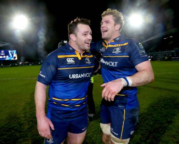 Cian Healy and Jamie Heaslip celebrate