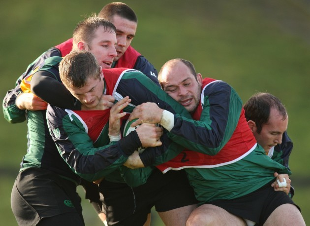 Jamie Heaslip with Tomas O'Leary, Alan Quinlan, Rory Best and Girvan Dempsey