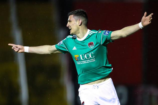 Graham Cummins celebrates after scoring a goal