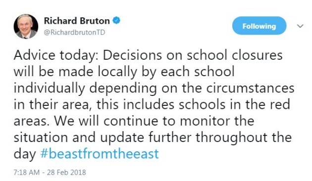 Schools to decide if they remain closed, rather than department