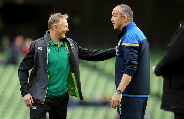 Joe Schmidt with Conor O'Shea