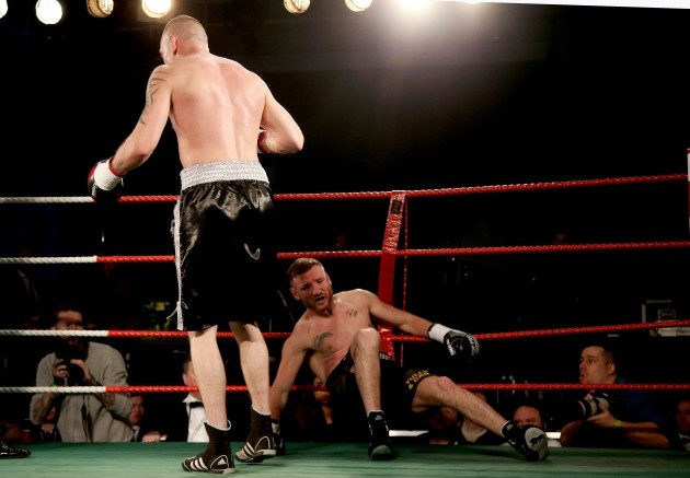 JJ McDonagh lands a punch on Ger Healy that ends the fight