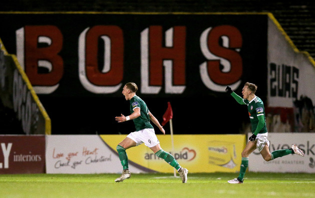 Ronan Curtis celebrates scoring his sides first goal