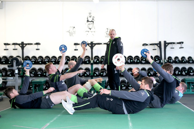 Jack O'Donoghue, John Ryan, Devin Toner, Rory Best, Tadhg Furlong, Iain Henderson and CJ Stander with Jason Cowman