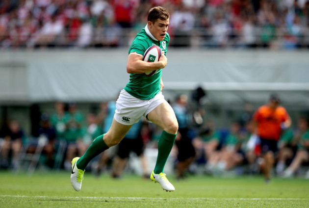 Garry Ringrose breaks free to score the first try of the game