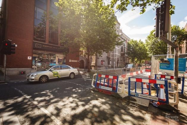 Barricades on Dawson Street for Cross City Luas