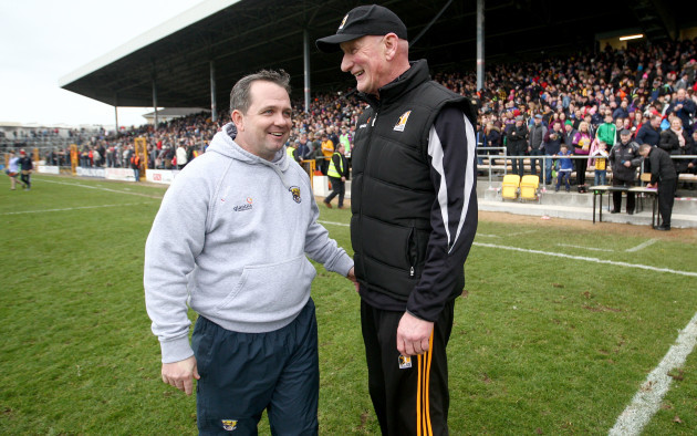 Davy Fitzgerald and Brian Cody at the end of the game