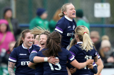 The Scotland team celebrate winning