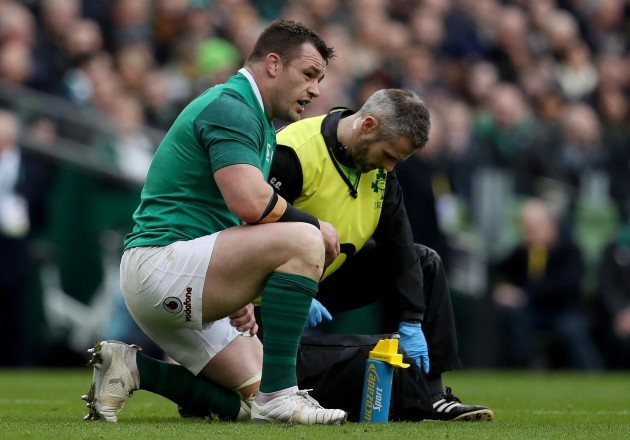 Cian Healy receives medical attention